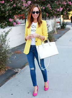 Love the colour combo - especially as the jeans and t-shirt are neutral, it doesn't feel like too much. Bold Brights