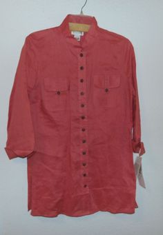 Allison Taylor Linen Button Up Roll Up Long Sleeve Blouse Shirt Size L Peach #AllisonTaylor #ButtonDownShirt #Casual