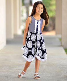 Freckles + Kitty Navy & White Stripe Ruffle Babydoll Dress - Girls | zulily