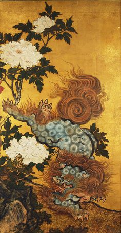 For Sale on - A rare pair of antique Japanese Karashishi paintings in a landscape of rocks and peony flowers on gold leaf ground in fine handmade frames, Edo period, old school frases hombres hombres brazo ideas impresionantes japoneses pequeños tattoo Japanese Tattoo Words, Japanese Tattoo Meanings, Japanese Tattoo Designs, Japanese Painting, Japanese Prints, Chinese Painting, Asian Artwork, Chinese Landscape Painting, Paintings