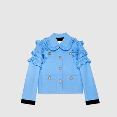 Gucci Silk Wool Flounce Jacket as seen on Gwyneth Paltrow Coats For Women, Jackets For Women, Clothes For Women, Star Fashion, Fashion Outfits, Silk Jacket, Silk Wool, Cool Street Fashion, Fashion Fabric