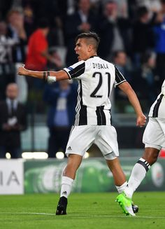 Paulo Dybala of Juventus celebrates after scoring the opening goal during the UEFA Champions League Quarter Final first leg match between Juventus and FC Barcelona at Juventus Stadium on April 11, 2017 in Turin, Italy.
