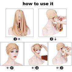 Turban Wrap Solid Color Turkish Hijab Muslim Turban Head Wrap With Beads Eid gift Cancer Wrap Chemo Head Wrap Turban Hijab, Turban Hut, Mode Turban, Turbans, Headscarves, Style Turban, African Scarf, Turban Tutorial, Head Scarf Styles