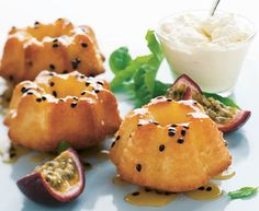 Passionfruit and yoghurt syrup cakes http://www.eatout.co.za/recipe/passionfruit-and-yoghurt-syrup-cakes/
