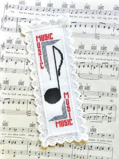 Music Note Bookmark Counted Cross Stitch Fabric by Fischerimages