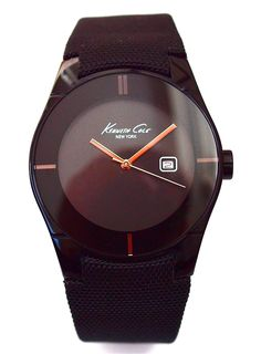 Kenneth Cole men's watch carbonized with black leather strap kanvas cloaked. From €150 for €75. See more at - www.megawatchoutlet.com
