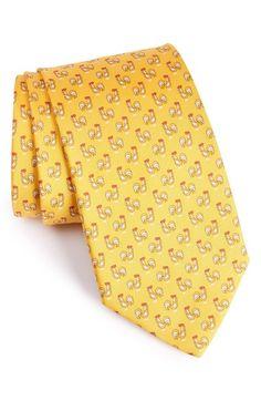 SALVATORE FERRAGAMO Rooster Print Silk Tie. #salvatoreferragamo #