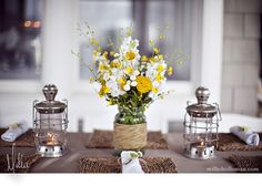 Yellow and Grey Wedding - Flowers, center piece option, use grey yarn to wrap the vases instead