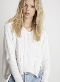 ATHENS KNIT SWEATER - WHITE - FINAL SALE