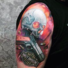 90 Harley Davidson Tattoos For Men - Manly Motorcycle Designs Hd Tattoos, Forearm Tattoos, Tattoos For Guys, Tatoos, Harley Tattoos, Harley Davidson Tattoos, Motorcycle Art, Motorcycle Design, American Motorcycles