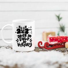 Funny Christmas Mug, 2020 you'll go down in history, stocking stuffer holiday decor gifts, Christmas gift for moms, pandemic mug