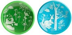 Brinware - Glass Plates - Panda Play Green and Koala and Friends Blue - CANADA Rockpretty Baby Blue Dishes, Glass Dishes, Starting Solids Baby, Baby Cubes, Pandas Playing, Modern Crib, Baby Chickens, Baby Favors, Dish Sets
