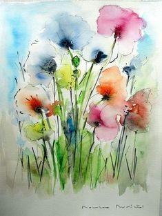 Charisma-Aquarell 40 x 30 cm, Abstract Art Diy, Colorful Art, Art Painting, Watercolor Poppies, Watercolor Flowers Paintings, Flower Art, Floral Art, Art, Floral Watercolor