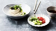 Chilled somen noodles with dipping sauce (hiyashi somen)   Noodle ...