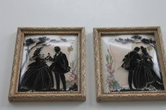 Pair Vintage Reverse Painted Silhouette Romantic by PeggysTrove, $45.00