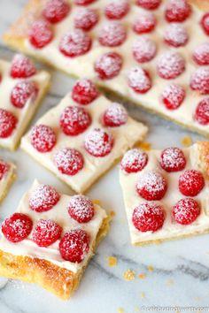 Raspberry Lemon Cream Tart via celebratingsweets.com | cream cheese; pastry; baked; summer; berries; dessert