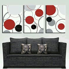 Stretched Canvas Art Abstract Colorful Circles Set of 3 Button Tree Art, Abstract Art Images, Simple Acrylic Paintings, Abstract Paintings, Panel Art, Living Room Art, Stretched Canvas Prints, Wall Prints, Canvas Art