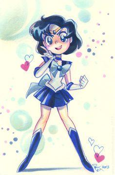 Sailor Mercury by Brianne Drouhard Arte Sailor Moon, Sailor Moon Fan Art, Sailor Moon Character, Sailor Jupiter, Sailor Moon Crystal, Sailor Venus, Sailor Mars, Sailor Neptune, Sailor Mercury