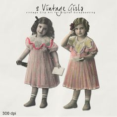 Far Far Hill - Free database of digital illustrations and papers: New Freebies Vintage Postcards Kit Vintage Girls, Vintage Children, Vintage Love, Mix Media, Vintage Postcards, Vintage Images, Paper Dolls, Art Dolls, Paris Crafts