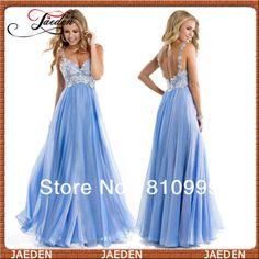 Hot sale New 2014!!!!!!!!!!!!!!!!!!!!!!!!!!!!!!!!!!!!!!!!!!!!!!!!!!!!!!!!!!!!!!!!!!!!!!!!JP0344 Deep V-neck Lace Crop Straps Sequins Low Back Chiffon Blue Prom Dress 2014 $127.99