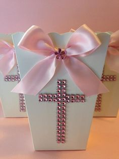 Popcorn Boxes Favor Goody Bag Baptism Favor by designsbyemilys, $11.99
