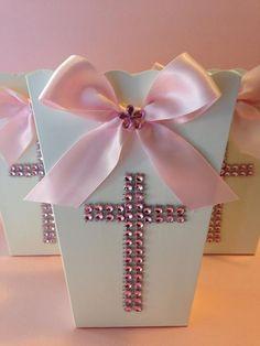 Popcorn Boxes Favor Goody Bag Baptism Favor by designsbyemilys, $11.99