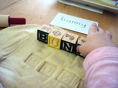 using blocks to press into clay... sight words, names, spellingwod, cvc's.... great idea