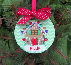 Personalized Gingerbread House Ornament  Two by ThatPartyChick, $15.00