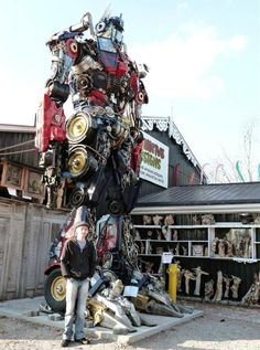 Optimus Prime statue made from junkyard parts