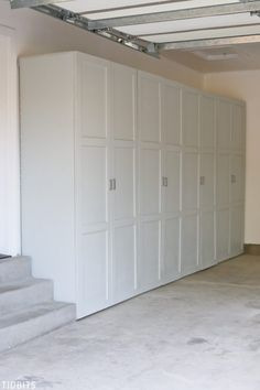 Garage Storage Cabinets Take back control of your garage! Free building plans fo… Garage Storage Cabinets Take back control of your garage! Free building plans for garage storage cabinets to organize all your tools, household supplies, automotive supplies Armoire Garage, Garage Doors, Garage Closet, Garage Art, Car Garage, Front Closet, Garage Entry, Small Garage, Garage Floor Paint