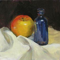 """Apple With Bottle"" - Original Fine Art for Sale - © by Elaine Hahn"