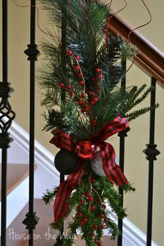 Christmas ideas for stairs - this idea may be easier to put up and take down...
