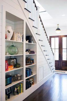 Built ins under the stairs b u i l t n s house stair storage plans Staircase Storage, Staircase Design, Staircase Bookshelf, Under Stair Storage, Building Bookshelves, Stair Design, Basement Storage, Office Storage, Space Under Stairs