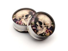 Vintage Skull Art Picture Plugs STYLE 6 gauges - 00g, 1/2, 9/16, 5/8, 3/4, 7/8, 1 inch. $19,99, via Etsy.