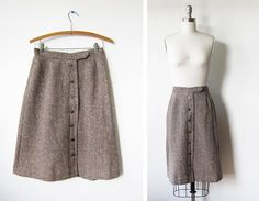 Vintage brown wool skirt with buttons.