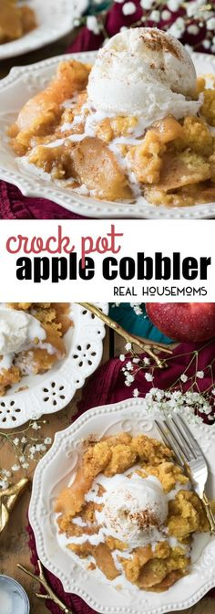 Simple and delicious Crock Pot Apple Cobbler is a sweet apple dessert that can be made right in your slow cooker! Just toss everything in together and your slow cooker will take care of the rest! via @realhousemoms