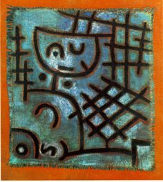 """Paul Klee  'Captive/Figure of this World-Next World'   1940  Oil and colored paste on primed burlap on burlap   21 7/10 x 19 2/10"""""""