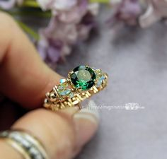 Green Quartz CZ Wire Wrapped Ring  Handmade by MyWiredImagination, $54.00