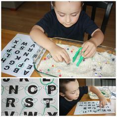 10 fun letters activities to try! Make learning letters easy with these alphabet sensory play ideas. Encourage letter recognition with hands-on play! Sensory Bins, Sensory Activities, Sensory Play, Activities For Kids, Sensory Table, Motor Activities, Educational Activities, Play Based Learning, Learning Through Play