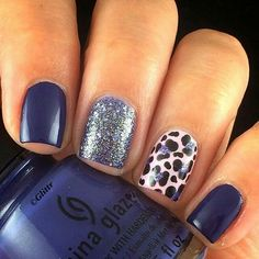 Dark Blue Nails with Glitter and Leopard Prints for Accent. art azul oscuro 40 Blue Nail Art Ideas - For Creative Juice Fancy Nails, Trendy Nails, Cute Nails, My Nails, Dark Blue Nails, Blue Glitter Nails, Purple Nails, Dark Purple, Silver Glitter