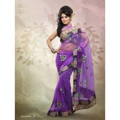 Violet color Shaded Net saree