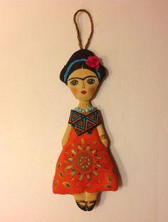 cloth doll handcrafted art doll Frida Kahlo by NatashaArtDolls