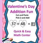 This center is quick and easy to make!  Just make copies of the heart number pages (80 numbers in all), cut them apart, put them in a container and...