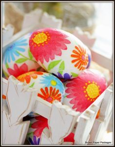 Paper napkins and Mod Podge give bright colored Easter eggs personality