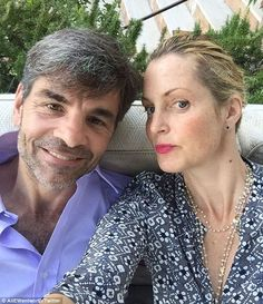 Sexy scruff: Alexandra Wentworth posted a photo to Twitter of her and her husband GeorgeStephanopoulos enjoying the sun in Italy - but apparently George forgot his razor Jun 2016