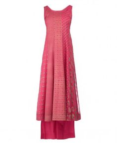 Printed Raspberry Pink Sleeveless Indian Suit