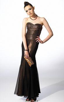 Brown Sheath/Column Strapless,Sweetheart Natural Long/Floor-length Sleeveless Prom Dresses Dress
