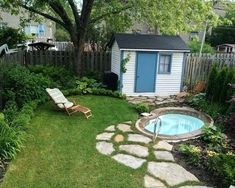 Image result for inground hot tub in backyard with firepit