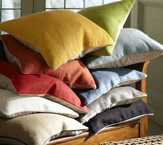 Hopsack Pillow Covers #potterybarn
