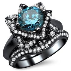 THis is GORGEOUS!!!!!! 2.0ct Blue Round Diamond Lotus Flower Engagement Ring Bridal Set 14k Black Gold With a 1.05ct Center Diamond and .45ct of Surrounding Diamonds Front Jewelers, http://www.amazon.com/dp/B00AIUD85G/ref=cm_sw_r_pi_dp_u3efrb0RRDY72